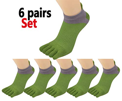 (Fascot Men's Cotton Low Cut Athletic Toe Socks 5 - 6 Packs)