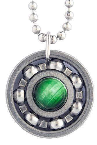 Green Tiger's Eye Roller Derby Skate Bearing Pendant Necklace (18