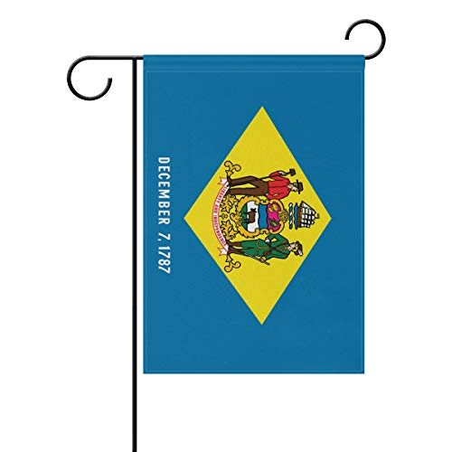 poeticcity Delaware State Flag Home Decorative Outdoor Two-Sided Garden Flag 12