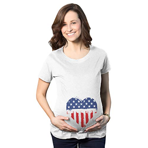 American Heart Baby T-shirt - Crazy Dog T-Shirts Maternity USA Heart American Flag Announcement Funny Pregnancy T Shirt (White) - 3XL
