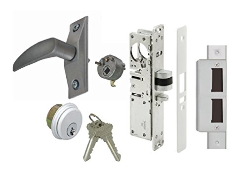 Storefront Door Mortise Deadlatch Lock Exit Lever Handle Latch Kit, Adams Rite Cam, Aluminum, Choose Backset & Handing (1-1/8