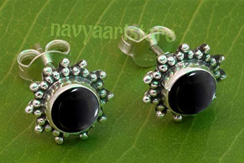 925 Sterling Silver Black Onyx Stud Post Earrings - Black Onyx Stone Gemstone Stud Earring Gift Jewellery For Girl women (Black Earrings Onyx Post)
