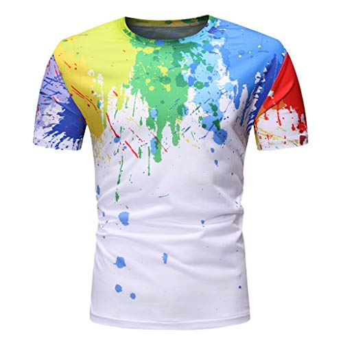 (TOOPOOT Elastic Summer T Shirts for Men, New Splash-Ink Print Short Sleeve O-Neck Tops Blouse)