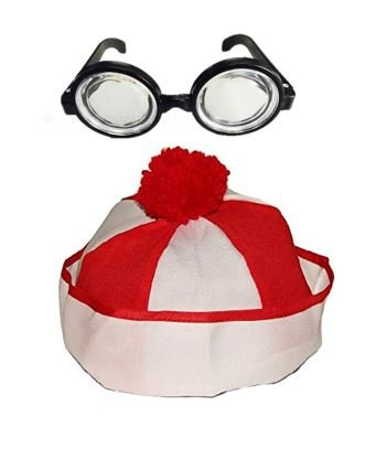 Christmas Hat | Kids Clown or Wheres Waldo Costume Hat with Nerd Glasses Set | Snow Winter Accessory ()