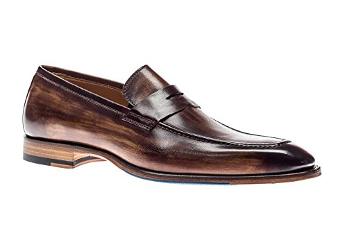 Jose Real Shoes Amberes Collection | Mens Loafer Tan Brown Genuine Real Italian Baby Calf Leather Dress Shoe | Size EU 43