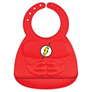 Bumkins Silicone Baby Bib with Muscles, DC Comics, Flash (6-24 Months)