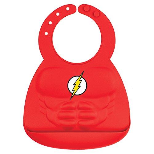 Bumkins DC Comics The Flash Silicone Bib, Baby Bib, Toddler Bib, Comfortable, Waterproof, Wipe Clean, Stain and Odor Resistant, 6-24 Months