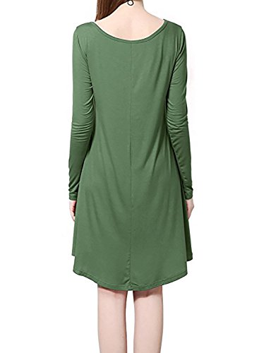 Asymmetrical Long Casual Army Women's Pocket Dresses HUSKARY Sleeve Green Hem Handkerchief Midi Oversize Jersey w4q6FWUX