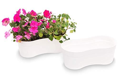Matri-USA Plant Pot Flower Window Box Sofia 14 2 Pack White