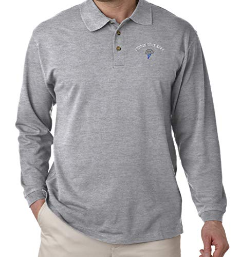 - Custom Text Embroidered Storm Logo Mascot Unisex Adult Button-End Spread Long Sleeve Cotton Polo Jersey Shirt Golf Shirt - Oxford Grey, X Large