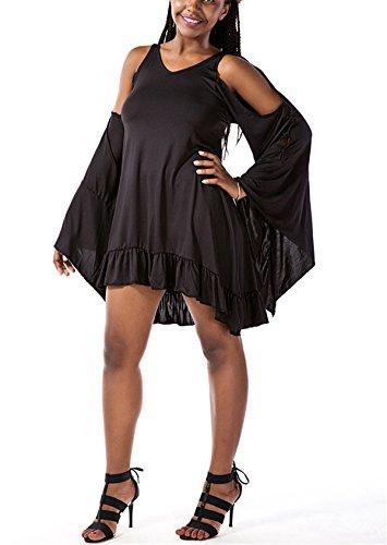 Allonly Femmes Sexy Robe Blanche De Gaze En Perspective Manches Longues Noir
