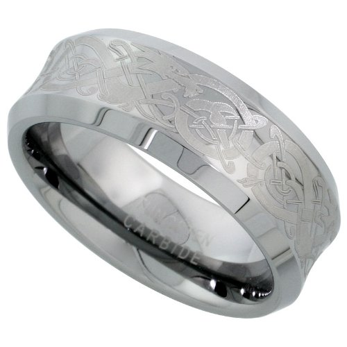 8mm tungsten 900 tm wedding ring concave etched celtic dragon pattern beveled edges comfort fit sizes 7 14 amazoncom - Firefighter Wedding Rings
