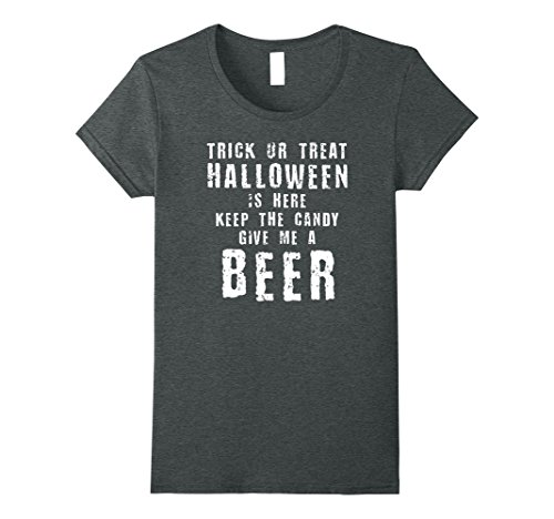 Womens Halloween Poem Funny Beer Drinking Costume T Shirt Small Dark Heather