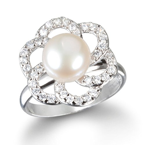 Rhodium Plated Silver Freshwater Cultured Pearl Flower Petal Ring (Flower Petal Cultured Pearl)