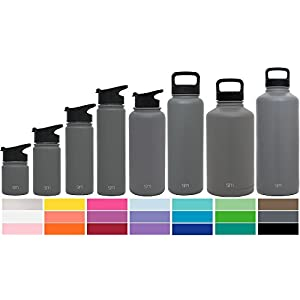 Simple Modern 84oz Summit Water Bottle + Extra Lid - Vacuum Insulated Stainless Steel Big Wide Mouth Hydro Travel Growler - Powder Coated Double Wall Large Flask - Slate Gray