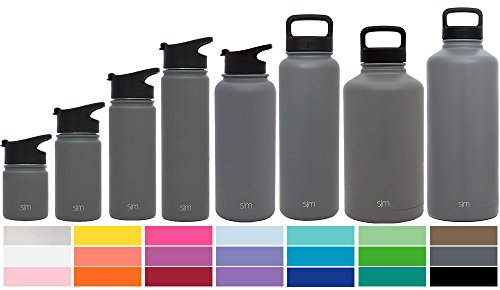 Simple Modern 64oz Summit Water Bottle + Extra Lid - Vacuum Insulated Stainless Steel Big Wide Mouth Hydro Travel Growler - Powder Coated Double Wall Large Flask - Slate Gray