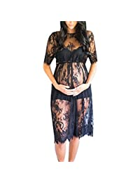 TheRang Women's Floral Lace Short Sleeve Maternity Dress for Photography Photoshoot Maternity Gown