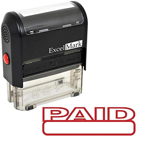(Paid Self Inking Rubber Stamp - Red Ink)