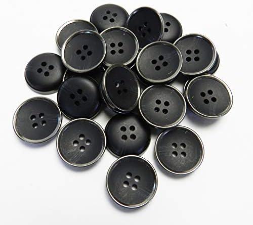 [スポンサー プロダクト]水牛調 黒色系 組み合わせボタン 20mm 4穴 スーツ ジャケット 最適 25個入り FSR771K-20-BK-706
