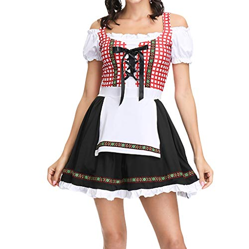 Mikilon Women's German Dirndl Dress Costumes for Bavarian Oktoberfest Carnival Halloween ()
