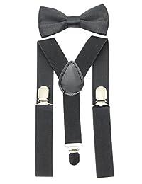 JAIFEI Suspender&Bow Tie Set-Adjustable Strong Clip-on Suspender for Boys&Girls (Black)