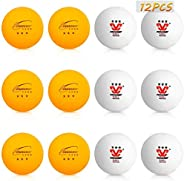 Number-one Ping Pong Balls 3 Star 40MM 2.8g ABS Professional Table Tennis Balls 12 Pack White and Yellow Ping-