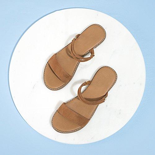 moda DHG tacco Sandali Albicocca Tacchi estivi da alti Sandali alla donna basso tacco con casual a 37 Pantofole Sandali basso piatti rqBYr