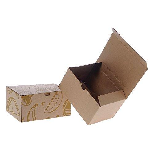 Corrugated Paper Meal Box Natural Kraft Art Deco - 8 1/8L x 6 1/8W x 4 1/8D 50 Per Case