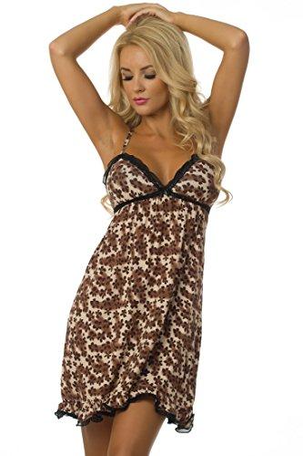 Velvet Kitten Sleepwear Chemise 513265 Small Brown (Womens Chemise Brown)