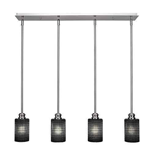 Toltec Lighting 1156-BN-4069 Edge - Four Light Mini Pendant, Brushed Nickel Finish with Black Matrix Glass ()