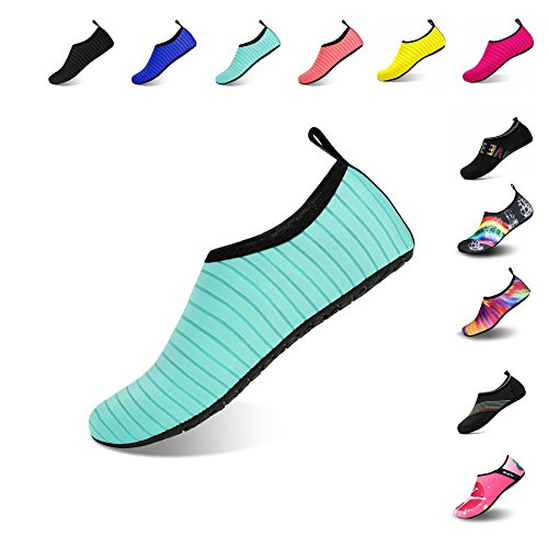 Ningmeng Mens Womens Water Shoes Barefoot Beach Pool Shoes Quick-Dry Aqua Yoga Socks For Surf Swim Water Sport (Green, 40/41EU) (Carry Women Water)
