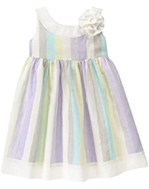 Pastel Striped Spring Easter Dress for Baby and Toddlers