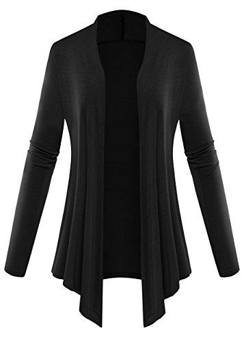 AM CLOTHES Women Plus Size Open Front Lightweight High Low Drape Short Cardigan Black (Drape Front Short)