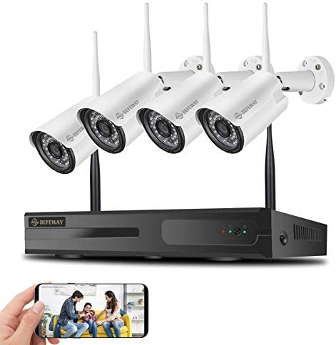 【8CH Expandable】DEFEWAY 1080P Wireless Security Camera System with One-Way Audio, 4Pcs Outdoor/Indoor WiFi Surveillance Cameras with HD Video,Night Vision Weatherproof,Motion Detection, No Hard Drive