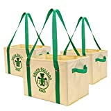 Super Tough Collapsible and Reusable Shopping Box Bag with Fold Out Reinforced Bottom (Set of 3)