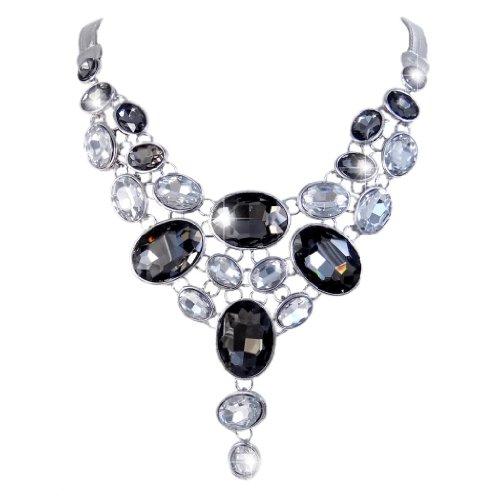 EVER FAITH Art Deco Black w/ Clear Rhinestone Bib Statement Necklace Silver-Tone (Crystal Tone Necklace Bib)