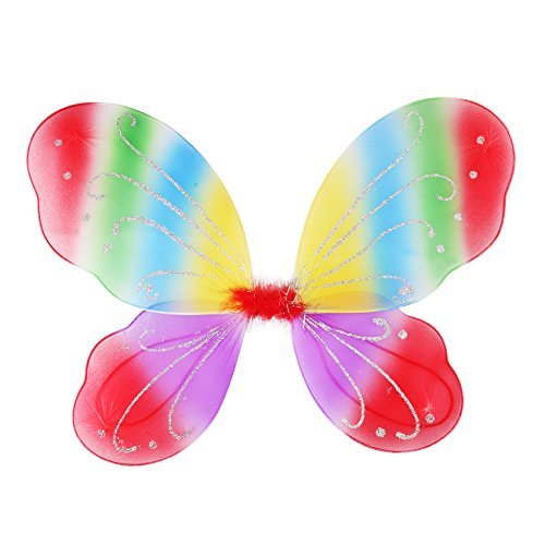 Dushi Butterfly Fairy Wings Angel Wings Birthday Party Favor Kids' Costume Accessories Dress up Wings for Girls Rainbow 2