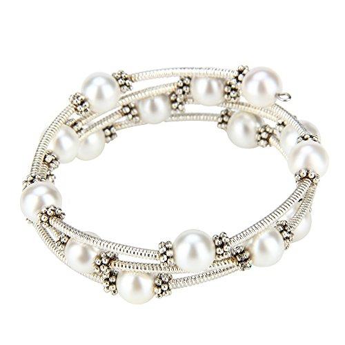 Silver Shell Pearl Bracelet - 1PCS Silver Plated Shell Pearl Adjustable Bracelet (White)