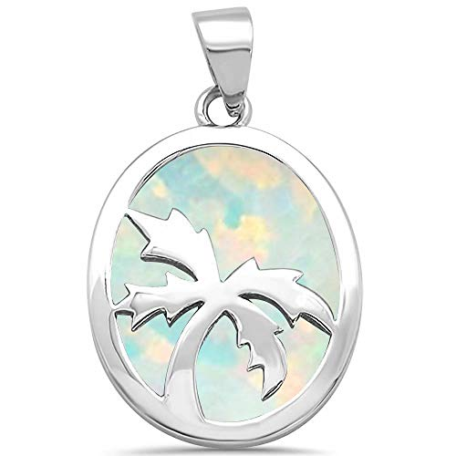 - Oxford Diamond Co Lab Created White Opal Inlay Palm Tree Charm .925 Sterling Silver Pendant SPO14407