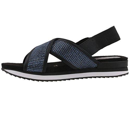 Femme 893 Blk Blau Nu TAMARIS Gl Nt Sandales pieds 28703 Blue 1qSxBIZ