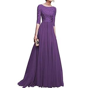 neudas Women Lace Floor Length Pleated Dress Wedding Cocktail Ball Gown Dresses