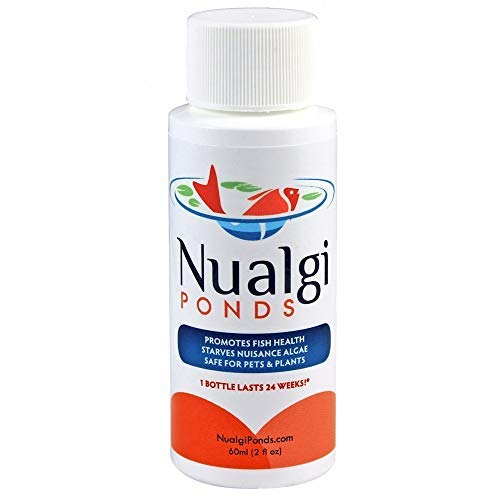 Nualgi Ponds - Natural Algae Control, Water Clarifier & Algaecide Alternate - 100% Safe for All Fish, Plants & Animals (1 x 60ml) by Nualgi Ponds