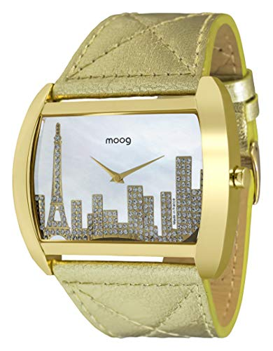 Moog Paris Skyline Women's Watch with White Mother of Pearl Dial, Gold Genuine Leather Strap & Swarovski Elements - M41882-001