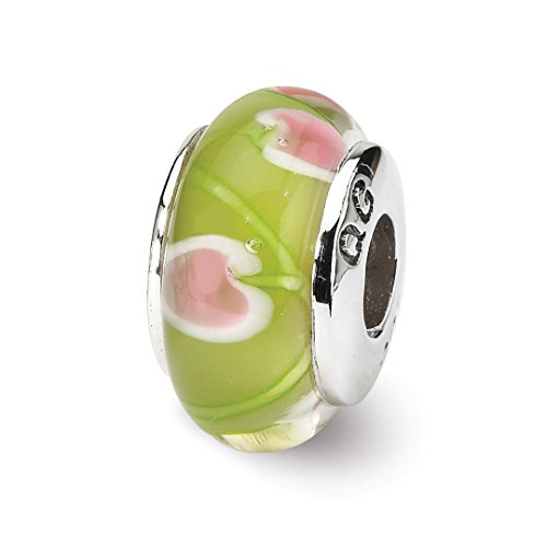 Charm For Bracelet Green/pink Hand Blown Glass Bead Glas H Fine Jewelry For Women Gift Set ()