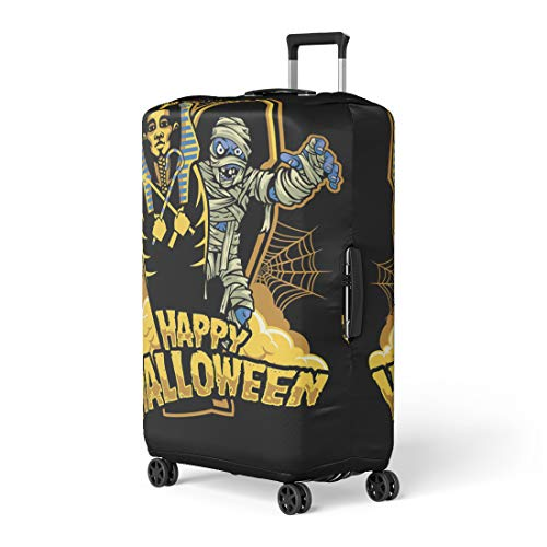Pinbeam Luggage Cover Coffin Halloween Mummy Out From Sarcophagus Dracula Candy Travel Suitcase Cover Protector Baggage Case Fits 18-22 -