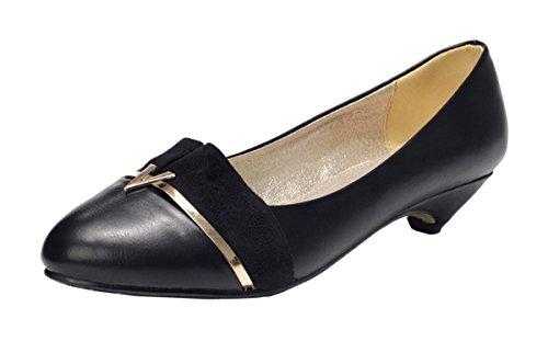 Guciheaven Women New Style Beautiful Cute Rough-Toe Metal Decoration Pump Shoes(6 B(M)US, Black)