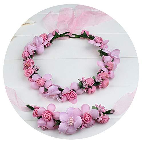 - Miao express Champagne blue pink peach purple rose white beige red handmade flower headband crown garland handwrist sets for wedding festival,Pink