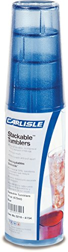 Carlisle 5216-8154 BPA Free Plastic Stackable Tumbler, 16 oz., Blue (Pack of 6) -