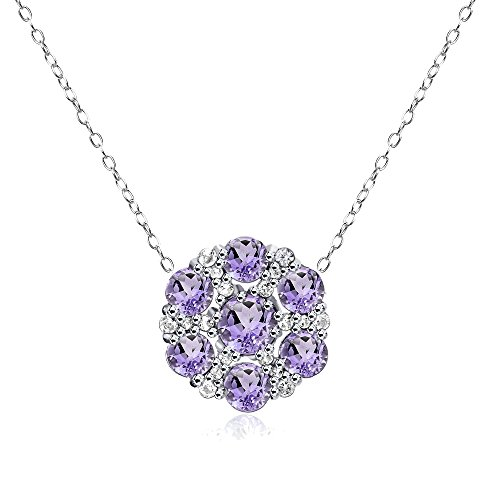 Sterling Silver Amethyst and White Topaz Flower Round Pendant Necklace