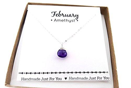 (Amethyst Gemstone February Birthstone Necklace - Sterling Silver Briolette Teardrop Jewelry - Gift for)